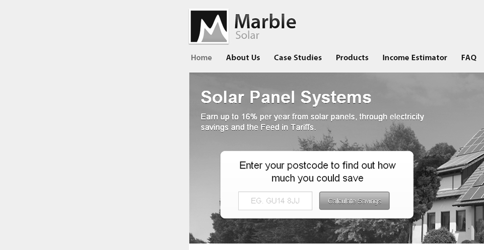 Web design - For Marble Solar