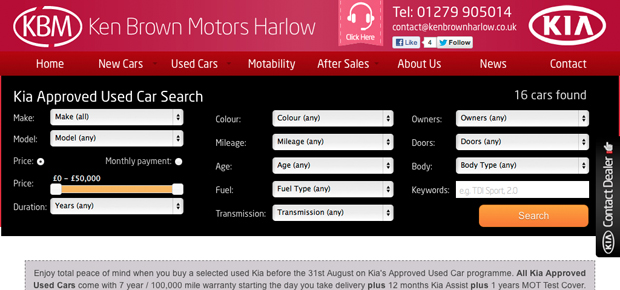 Kia Ken Brown Motors Harlow Screenshot 8